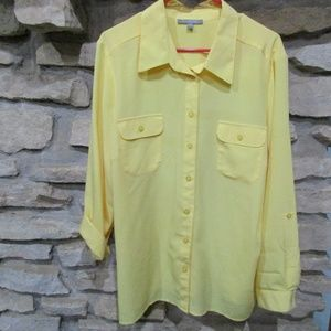 NY Collection 3X Yellow Polyester Top